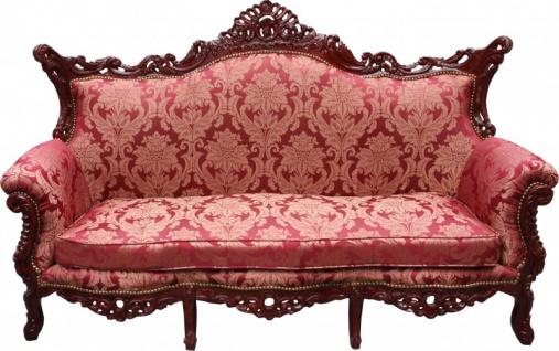 Casa Padrino Barock 3er Sofa Master Bordeaux Muster / Braunrot - Wohnzimmer Couch Möbel Lounge