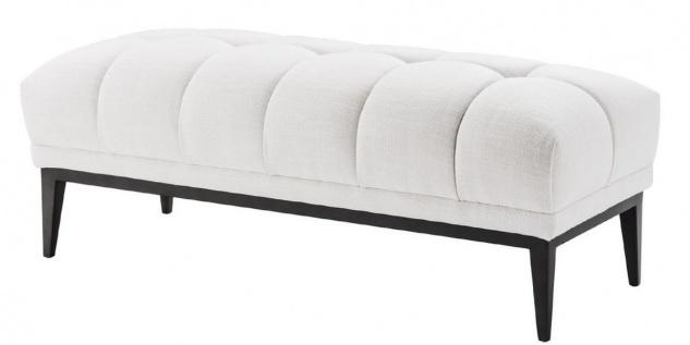 Casa Padrino Luxus Sitzbank Weiß / Schwarz 124 x 53 x H. 44 cm - Gepolsterte Bank mit Edelstahl Beinen - Wohnzimmer Möbel