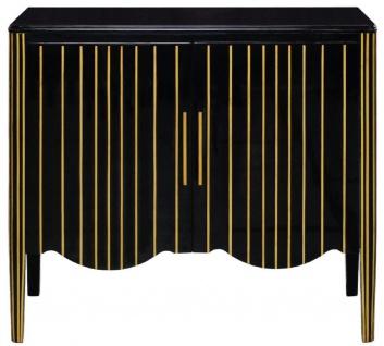 Casa Padrino Luxus Art Deco Sideboard Schwarz / Gold 100 x 50 x H. 90 cm - Edler Massivholz Schrank mit 2 Türen - Art Deco Wohnzimmer Möbel