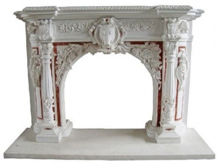 Casa Padrino Luxus Barock Kaminumrandung Weiß / Rot 180 x 35 x H. 130 cm - Kaminumrandung aus hochwertigem Marmor - Deko Accessoires im Barockstil - Edel & Prunkvoll