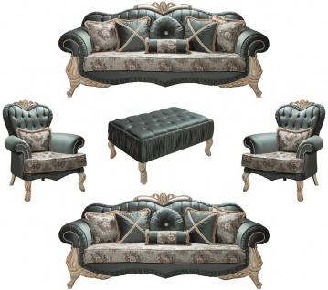 Casa Padrino Luxus Barock Wohnzimmer Set Grün / Creme / Beige - 2 Sofas & 2 Sessel & 1 Couchtisch - Wohnzimmer Möbel im Barockstil - Edel & Prunkvoll