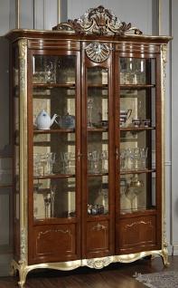 Casa Padrino Luxus Barock Vitrine Braun / Gold / Silber - Edler Massivholz Vitrinenschrank mit 2 Türen - Hotel Möbel - Schloss Möbel - Luxus Qualität - Made in Italy