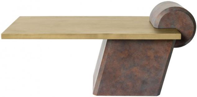 Casa Padrino Designer Couchtisch Messing / Antik Kupfer 115 x 60 x H. 53 cm - Wohnzimmertisch aus Glasfaserverstärktem Beton - Luxus Qualität