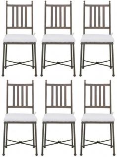 Casa Padrino Luxus Jugendstil Gartenstuhl Set mit Sitzkissen Braun / Weiß 42 x 45 x H. 103 cm - Handgeschmiedete Esszimmer Stühle - Esszimmer Garten Terrassen Möbel
