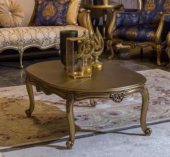 Casa Padrino Luxus Barock Couchtisch Gold 129 x 81 x H. 45 cm - Ovaler Massivholz Wohnzimmertisch - Barockstil Möbel