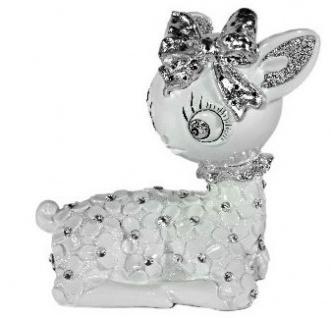 Casa Padrino Designer Bambi Figur Weiß / Silber mit Bling Bling Glitzersteinen 24 x 18 cm - Vorschau