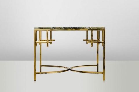 Casa Padrino Art Deco Beistelltisch Gold Metall / Marmor 60 x 60 cm- Jugendstil Tisch - Möbel Blumentisch - Vorschau 4