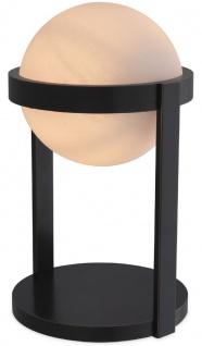 Casa Padrino Luxus Tischleuchte Bronzefarben / Weiß Ø 22 x H. 38 cm - Schreibtischleuchte mit rundem Glas Lampenschirm - Luxus Leuchten