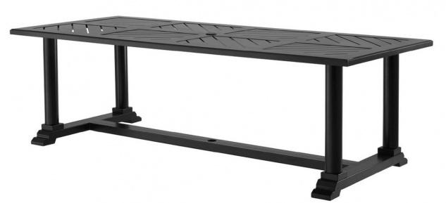 Casa Padrino Luxus Esstisch Mattschwarz 240 x 103 x H. 75 cm - Rechteckiger Küchentisch aus hochwertigen strapazierbarem Aluminium - Gartentisch