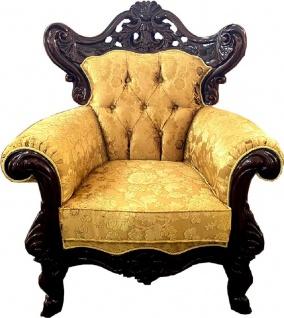 Casa Padrino Luxus Barock Sessel Gold / Dunkelbraun - Prunkvoller Wohnzimmer Sessel mit elegantem Muster - Barock Möbel