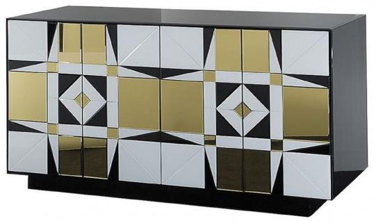 Casa Padrino Luxus Sideboard Schwarz / Weiß / Gold 140 x 45 x H. 80 cm - Massivholz Schrank mit 4 verspiegelten Türen - Luxus Möbel