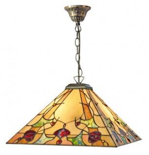 Casa Padrino Tiffany Deckenleuchte / Hängeleuchte mit Kette Mosaik Glas Eckig 25 x 25 cm - Leuchte Lampe