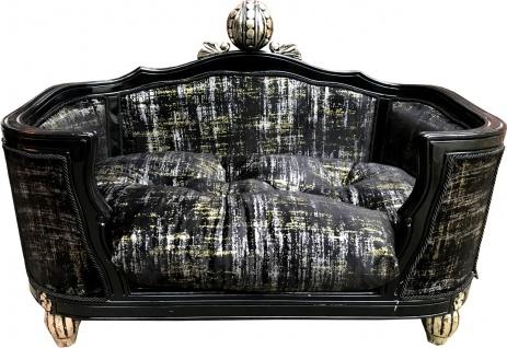 Pompöös by Casa Padrino Luxus Barock Hunde & Katzenbett Deluxe Schwarz Muster von Harald Glööckler