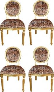 Casa Padrino Luxus Barock Esszimmer Set Medaillon Leopard / Gold 50 x 52 x H. 99 cm - 4 handgefertigte Esszimmerstühle - Barock Esszimmermöbel