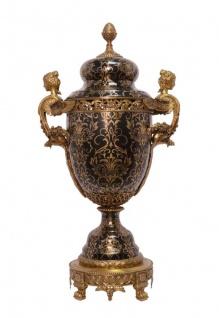 Casa Padrino Barock Porzellan Vase mit 2 Griffen und Deckel - Luxus Hotel Vase