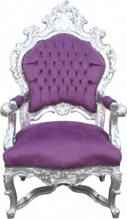 Casa Padrino Barock Luxus Thron Sessel Lila/Silber - Unikat - Barock Möbel Thron Königssessel - Limited Edition