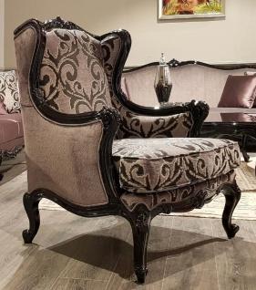 Casa Padrino Luxus Barock Ohrensessel Rosa / Schwarz - Prunkvoller Wohnzimmer Sessel mit elegantem Muster - Wohnzimmer Möbel im Barockstil