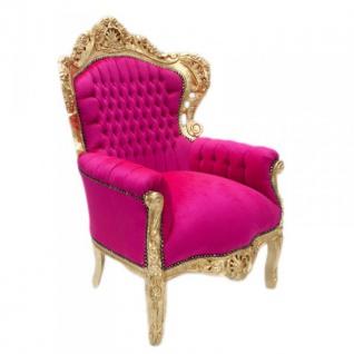 """Barock Sessel """" King"""" Pink / Gold Möbel Antik Stil - Vorschau 2"""