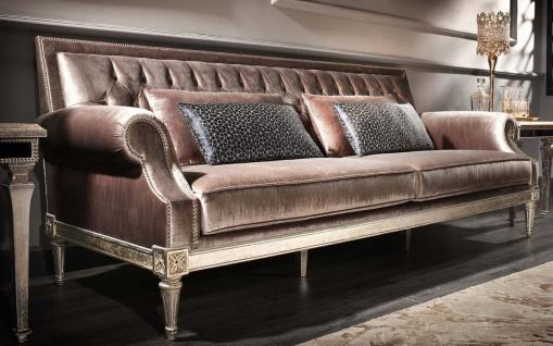 Casa Padrino Luxus Barock Wohnzimmer Samt Sofa Rosa / Antik Silber 250 x 88 x H. 100 cm - Edel & Prunkvoll - Vorschau 2