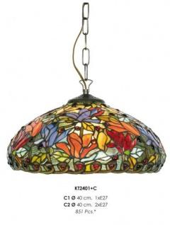 Handgefertigte Tiffany Pendelleuchte Hängeleuchte von Casa Padrino Durchmesser 40 cm, 1-Flammig - Leuchte Lampe