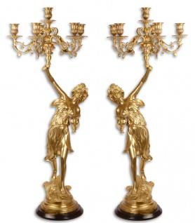 Casa Padrino Barock Kerzenständer Set Gold 32, 5 x 32, 5 x H. 87 cm - Hotel & Restaurant Deko