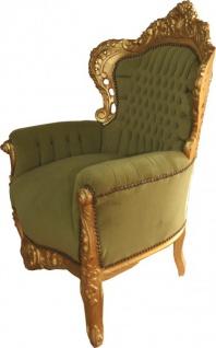 Casa Padrino Barock Sessel King Jadegrün / Gold 85 x 85 x H. 120 cm - Barock Möbel