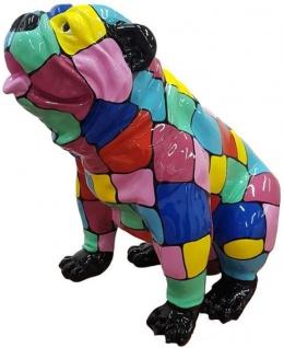 Casa Padrino Designer Gartendeko Skulptur Hund Bulldogge Mehrfarbig 67 x H. 70 cm - Gartendeko Figur - Wetterbeständige Gartenfigur