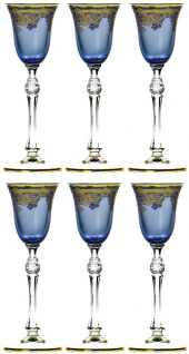 Casa Padrino Luxus Barock Likörglas 6er Set Blau / Gold Ø 6, 5 x H. 18, 5 cm - Handgefertigte und handbemalte Likörgläser - Hotel & Restaurant Accessoires - Luxus Qualität