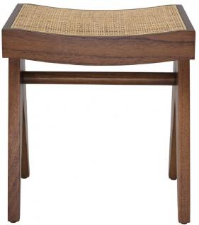 Casa Padrino Luxus Sitzhocker Braun / Naturfarben 39 x 31, 5 x H. 43 cm - Massivholz Hocker mit handgewebtem Rattangeflecht - Luxus Möbel