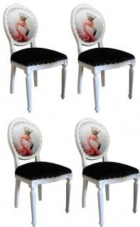 Casa Padrino Luxus Barock Esszimmer Set Flamingo mit Krone Weiß / Schwarz / Mehrfarbig 48 x 50 x H. 98 cm - 4 handgefertigte Esszimmerstühle mit Bling Bling Glitzersteinen - Barock Esszimmermöbel