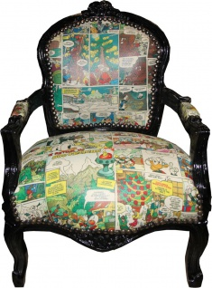 Casa Padrino Barock Kinder Stuhl Comic Lederoptik / Schwarz Mod2 - Armlehnstuhl