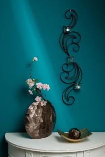 Casa Padrino Designer Wandteelichthalter Schwarz 16 x 9 x H. 74 cm - Metall Wanddeko mit Teelichthaltern aus Glas - Vorschau 3