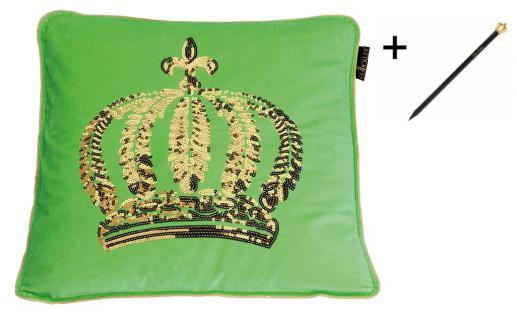Harald Glööckler Designer Zierkissenhülle Krone mit Pailletten Grün / Gold 50 x 50 cm + Casa Padrino Luxus Barock Bleistift mit Kronendesign