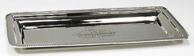 Casa Padrino Luxus Serviertablett Silber 32 x 13 x H. 2 cm - Luxus Accessoires