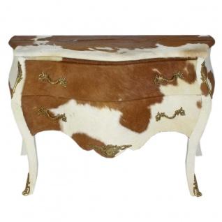 Casa Padrino Barock Kuhfell Kommode Braun / Weiß mit messingfarbenen Metallapplikationen 120 cm - Antik Stil Möbel