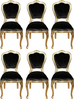 Casa Padrino Luxus Barock Esszimmer Set Schwarz / Gold 45 x 46 x H. 99 cm - 6 handgefertigte Esszimmerstühle - Barock Esszimmermöbel