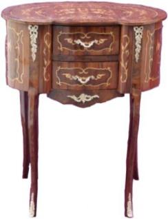Casa padrino Barock Telefontisch mir 2 Schubladen Beistelltisch Modell Mahagoni Braun Intarsien 80 x 64 x 44 cm