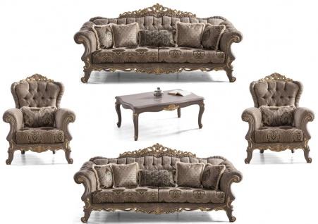 Casa Padrino Luxus Barock Wohnzimmer Set Braun / Grau / Gold - 2 Sofas & 2 Sessel & 1 Couchtisch - Prunkvolle Barock Wohnzimmer Möbel