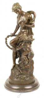 Casa Padrino Luxus Bronze Skulptur Das Band Der Liebe Bronze / Gold / Grau 30, 5 x 24 x H. 54, 8 cm - Dekofigur mit Marmorsockel