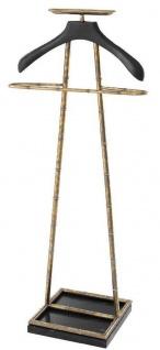 Casa Padrino Luxus Dressboy Vintage Messingfarben / Schwarz 50, 5 x 31 x H. 117 cm - Kleiderständer Garderobenständer Anzugständer Stummer Diener Herrendiener - Luxus Accessoires