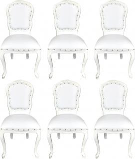 Casa Padrino Luxus Barock Esszimmer Set Weiß / Weiß 55 x 54 x H. 103 cm - 6 handgefertigte Esszimmerstühle mit Kunstleder - Barock Esszimmermöbel
