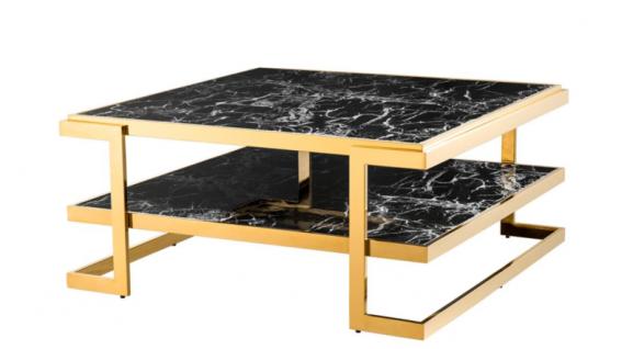 Casa Padrino Art Deco Luxus Couchtisch Kunstmarmor Gold finish - Wohnzimmer Salon Tisch - Luxus Qualität