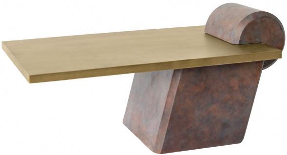 Casa Padrino Designer Couchtisch Messing / Antik Kupfer 115 x 60 x H. 53 cm - Wohnzimmertisch aus Glasfaserverstärktem Beton - Luxus Qualität - Vorschau 2