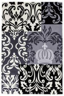 Harald Glööckler Designer Teppich 80 x 150 cm Schwarz / Weiss / Grau - Barock Design Teppich