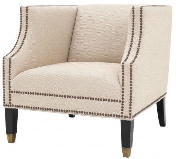 Casa Padrino Luxus Wohnzimmer Sessel Sandfarben / Schwarz / Messingfarben 75 x 80 x H. 75 cm - Luxus Möbel