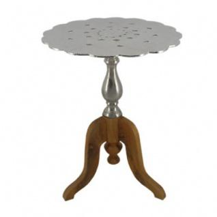 Casa Padrino Barock Beistelltisch Aluminium / Holz mit Holzfuß 45 x H56 cm - Jugendstil Tisch