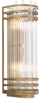 Casa Padrino Luxus Wandleuchte Antik Messingfarben 12 x 12, 5 x H. 38 cm - Elegante Metall Wandlampe mit Glas Lampenschirm - Luxus Kollektion