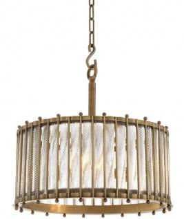 Casa Padrino Luxus Hängeleuchte Antik Messingfarben Ø 52, 5 x H. 52 cm - Runde Messing Pendelleuchte mit handgemachtem Glas
