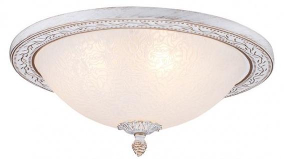 Casa Padrino Barock Deckenleuchte Weiß / Gold Ø 36 x H. 18 cm - Runde Deckenlampe im Barockstil