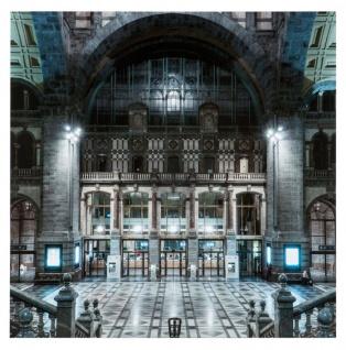 Casa Padrino Bild Central Station auf Alu Dibond 120 x H. 120 cm - Luxus Qualität